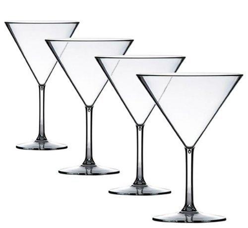 Crystal-martini-cocktail (4 x PREMIUM Martini Cocktail polycarbonates aussehen Echt Glas kaufe unzerbrechlich kunststoff. ideal für Picknick Outdoor Pool, BBQ, Garten waschbar und wiederverwendbar Geschirrspüler sicher)