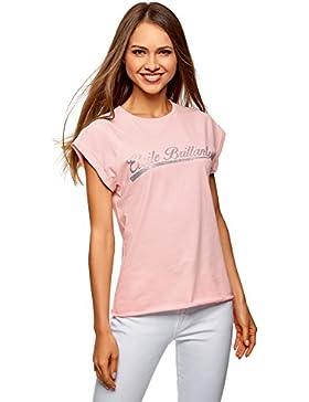 oodji Ultra Donna T-Shirt con Maniche a Raglan con Orlo Grezzo e Decorazioni sul Petto