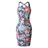 Timlatte Women Knee Length Dress Floral Summer Dress Crossed Shoulder Straps Hip Wrapped