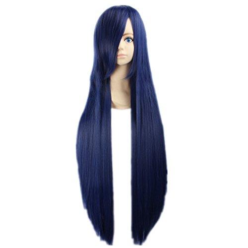 tueme Peruecke Shippuden Hinata Hyuga lang dunkelblau 100cm Anime Haar (Naruto Shippuden Hinata Hyuga Cosplay Kostüm)