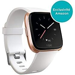 Fitbit Versa, Montres connectées forme, sport & bien-être: + de 4 jours d'autonomie, étanche, suivi fréquence cardiaque, Blanc & Or Rose
