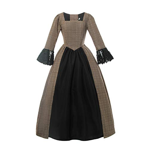 Bürgerkrieg Damen Kostüm - Nuoqi Damen American Pioneer Colonial Prairie Kleid Civil War Viktorianisches Schottenkaro Kleid Mittelalter Kostüm - Braun - 40