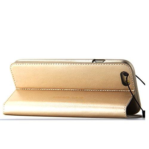BELK-iPhone 6 Plus-Hülle (14 cm), elegant, hochqualitativ, aus echtem Leder, mit Brieftasche, Klappschutzhülle mit Standfuß + Bildschirmschutz, schwarz Gold-6 plus