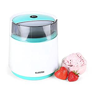 Klarstein Bacio Azzurro  Eismaschine  Speiseeismaschine  Eisbereiter  Frozen Yogurt  7 Watt  0,8 Liter Fassungsvermögen  doppelwandiger Thermobehälter  30 min Rührdauer  niedriges Betriebsgeräusch  einfache Reinigung  inkl. Rezeptvorschläge  blau