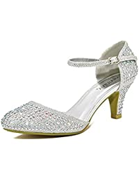 Chic Feet Silver Gold Glitter Womens Party Diamante Evening Wedding Bridal Prom Mary Jane Low Heel