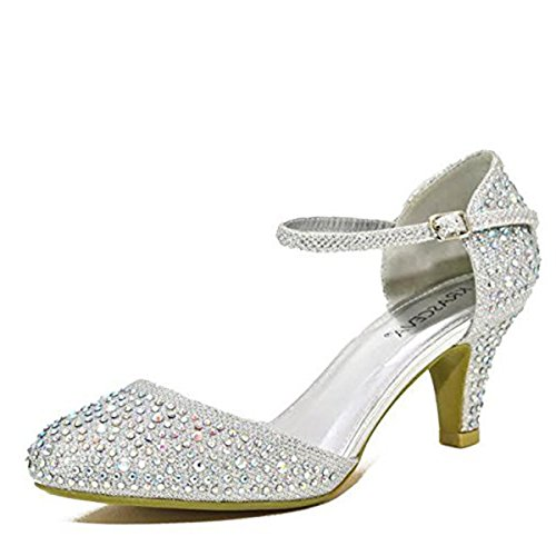 acb325cc3bf8 Chic Feet Silver Glitter Womens Party Diamante Evening Wedding Bridal Prom  Mary Jane Low Heel Shoes – UK Size 7 – The Prom Store