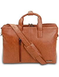 Dimikuus 15'' Inch FF 7103, Synthetic Leather Tan Office Bag