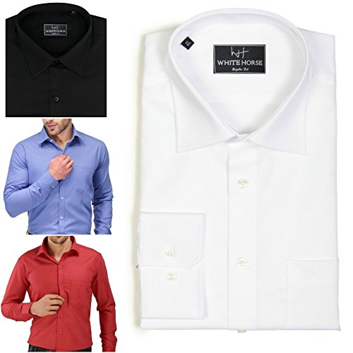 White Horse Mens Formal Shirt Long Sleeve Regular Fit Brand Wedding Party Office Work Suit Wear …