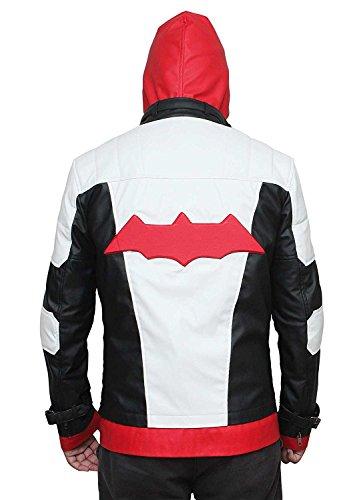 Bat Logo Knight Red Hood White Synthetic Leather Jacket with Vest - Bat Logo Chevalier Rouge Capuche Blanc Veste en cuir synthétique avec gilet Blanc