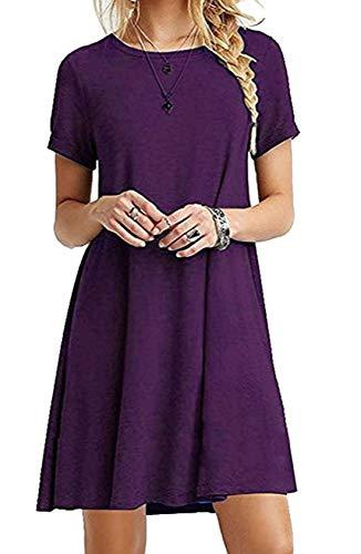 ZIOOER Damen Kleider Casual MiniKleid Langes Shirt Lose Freizeitkleider Tunika Kurzarm Tshirt Kleid Abendkleid Lila M