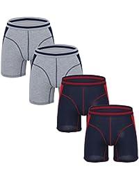 Hoerev Mens Long-Leg Cotton Boxer Brief, Briefs underwear, Pack of 4