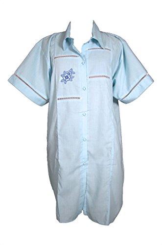 Batist Nachthemd zum Durchknöpfen Grösse 36/38 Kurzarm Pastellfarben Hellgelb