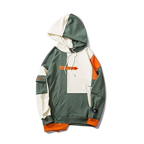 CLGXXH Kapuzenpullover Sweatshirt Unregelmäßige Farbe Patchwork Block Jersey Herren Hoodies Harajuku Hip Hop Streetwear Fashion Tops -