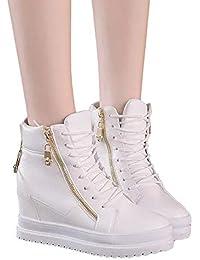 118334a1f2b51 Beikoard-scarpa Sneakers Alte con Cerniera Scarpe Stringate Scarpe Basse da  Donna in Pelle per