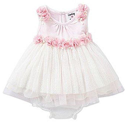 Counting Daisies von Rare Editions Baby Mädchen Princess Petticoat Rüschen Kleid weiß rosa + Unterhose (68) (Kleider Editions Rare Baby)