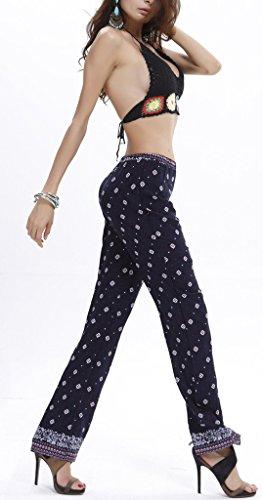 Bigood Pantalon Long Femme Coton Pantalons Imprimés Droit Plage Piscine Voyage Sport Casual Bleu Foncé
