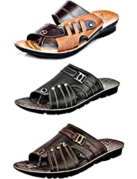 WORLD WEAR FOOTWEAR Men Multicolor Combo Pack of 3 Latest Collection Casual Slippers (Combo-(3A)-9235-1130-9230)