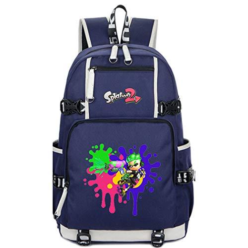Cosstars Splatoon Anime Knapsack Sac à Dos Cartable Laptop Backpack pour Étudiant Bleu-5