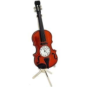 Personalised Miniature Violin & Stand Clock FREE ENGRAVING by WID
