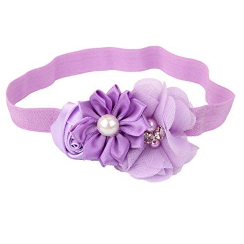 FITYLE Baby Mädchen Stirnband elastisch Haarband mit Blumen Perlen Deko Haarschmuck Kopfschmuck Fotoshooting Kostüm - Hell Lila