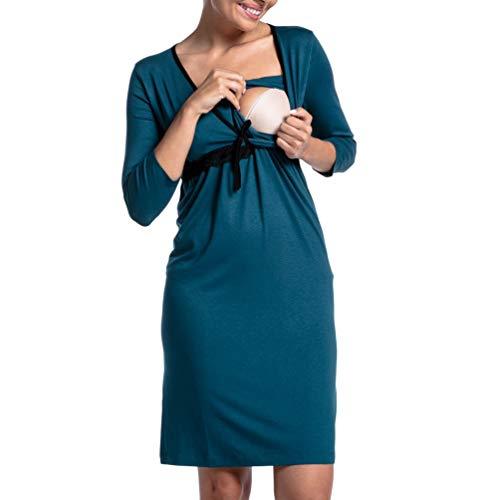 Kuncg Pyjamas d'allaitement Couleur Unie Vêtements de Nuit avec Dentelle Manche Longue Grossesse Robe Chemises de Nuit Maternité (Vert Foncé,CN M)