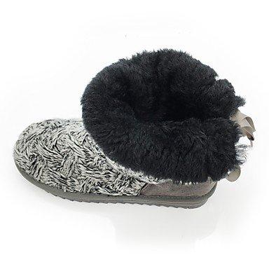 Coeur & M Womens Tricoté Chaussures Automne Hiver Bottes De Neige Slouch Bottes Semelles Légères Peluche Couvre Cheville Bottes Bout Rond Gris