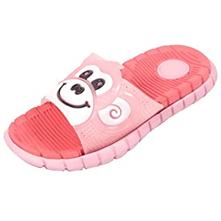 Kids Girls Boys FLIP Flops Monkey Slippers Infant Sliders Slides Sandals Sizes (UK 10/EU 28, Pink/Melon Red)
