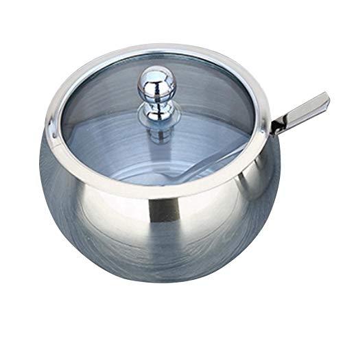 Edelstahl Zuckerdose Mit Glasdeckel Und Zuckerlöffel - Best Pottery Cruet Pot Für Zuhause Und Küche