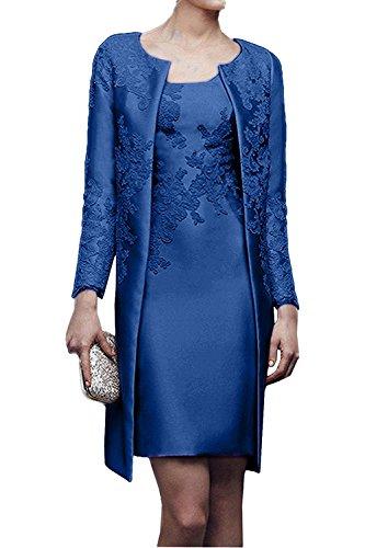 Charmant Damen 2017 Neu Gelb Satin Abendkleider Partykleider Ballkleider mit lang Bolero knie-lang Dunkel Royal Blau