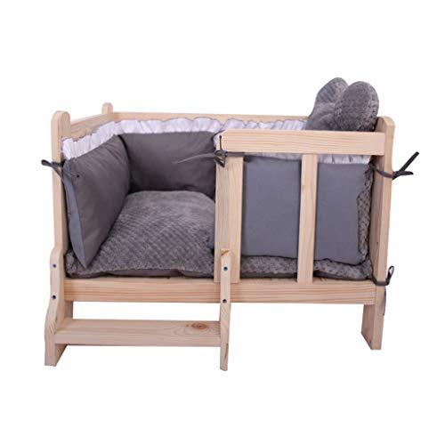 Cuccia cane cuscino per cane letto per cani in legno con rivestimento sfoderabile per gatto piccolo, letto invernale indistruttibile per viaggi al coperto all'aperto, grigio cucce per cani da interno