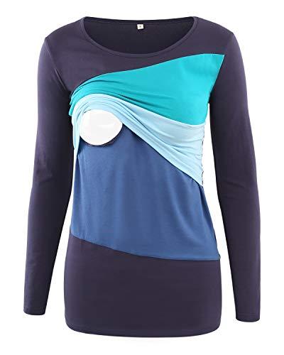 Love2Mi Umstandsmode Damen Stillshirt Langarm Umstands-Top Lagendesign Farbblock-Design, Marineblaue Nähte, M