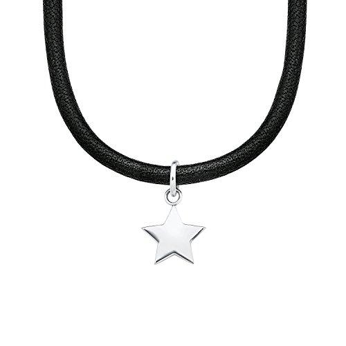 S.Oliver Choker modischer mit Edelstahl Stern Leder 30+5 cm schwarz