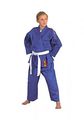 Judoanzug Yamanashi mit Schulterstreifen, in blau oder weiß (blau, 180)