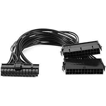 Merssavo Alimentation PSU 24 Broches ATX Mainboard Carte Mère Adaptateur Câble Dual