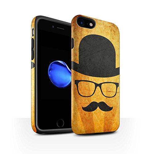 STUFF4 Matte Harten Stoßfest Hülle / Case für Apple iPhone 8 / Schnauzbart Muster / Retro Schnurrbart Kollektion Melone Hut