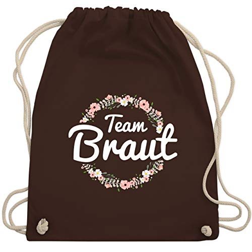 JGA Junggesellinnenabschied - Team Braut Blumenkranz - Unisize - Braun - WM110 - Turnbeutel & Gym Bag