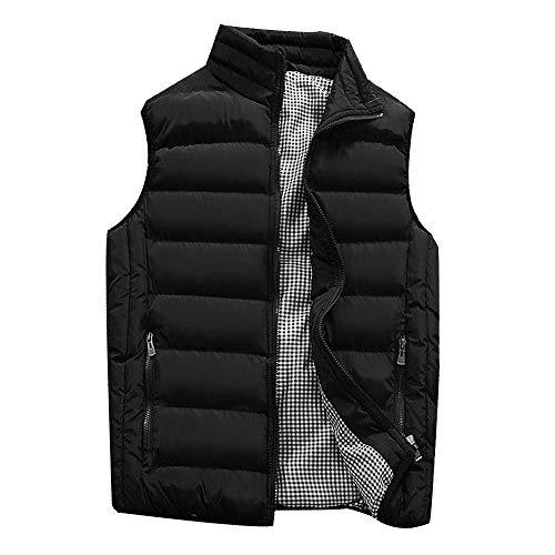 KEERADS Homme Veste Gilet Casual Chaud Doudoune Vest sans Manche Manteau Blouson Zipper Automne Hiver(FR-52/L,Noir)