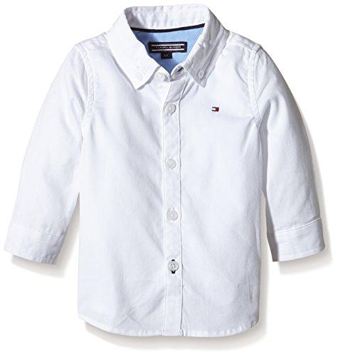 Tommy Hilfiger Unisex Baby Hemd OXFORD SHIRT L/S, Gr. 62, Weiß (CLASSIC WHITE 100)