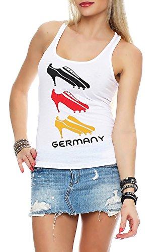 Damen Tank Top Deutschland Fanshirt EM WM Trikot High Heels, Größe:S, Farbe:Weiß