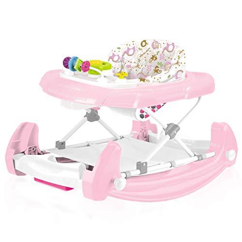 Babywalker Lauflernhilfe Gehfrei Mädchen Baby Walker rosa für Babys Baby Kinder 2 in 1 Spielzeug Babystuhl Auto ab 6 Monaten Schaukel Wippe Lauflernwagen Laufhilfe Laufstuhl faltbar verstellbare Höhe (Babys 2 In Für Einem Walker)