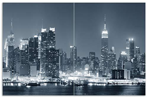 Wallario Herdabdeckplatte/Spritzschutz aus Glas, 2-teilig, 80x52cm, für Ceran- und Induktionsherde, Motiv New York Skyline - Schwarz Weiß Blau