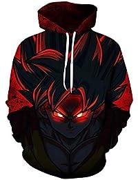 7729c428d458 Queenromen Herren Dragon Ball Hoodie 3D Cartoon Anime Gedruckt  Kapuzenpullover Sweatshirt mit Känguru-Tasche