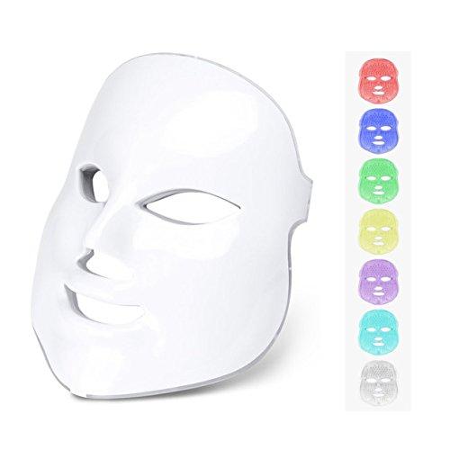 Masque Noir,Poshions Masque Facial Photon LED 7 Couleurs Thérapie de Rajeunissement de la Peau LED Photon Masque