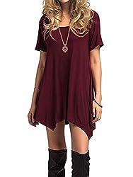 Azue Damen Sommerkleider Kurzarm Kleider Casual T-Shirt Kleid Loose Fit für Alltag Weinrot K EU 40 (Herstellergröße M)