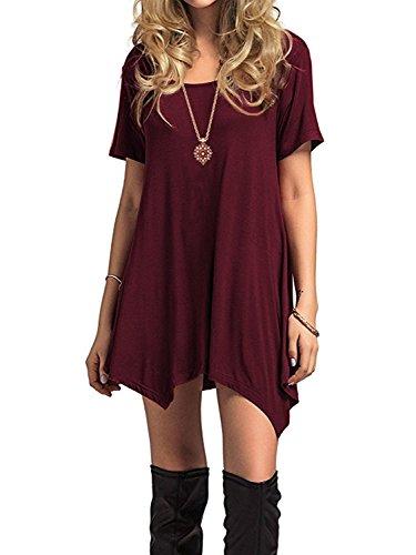 Azue Damen Sommerkleider Kurzarm Kleider Casual T-shirt kleid Loose Fit für  Alltag Weinrot K EU 38 (Herstellergröße S) b1cedb325a
