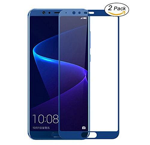 [2 Pack] Rockwey ®Huawei Honor View 10 Protection Écran,0.26mm 9H protection d'écran en verre[Couverture plein écran]-Bleu