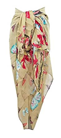 Large Beige Butterfly Design Chiffon Sarong, Coverup or Scarf