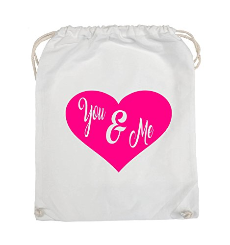 Comedy Bags - YOU & ME - HERZ NEGATIV - Turnbeutel - 37x46cm - Farbe: Schwarz / Silber Weiss / Pink
