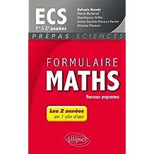 Formulaire Maths ECS 1re et 2e Années En 1 Clin d'Oeil Programme 2014