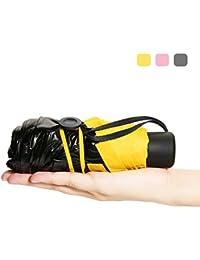 CAMTOA - Paraguas muy pequeño y muy ligero, con protección UV del 99 %, 100 % impermeable, portátil, compacto, con doble uso, para la lluvia o el sol, plegable, de viaje, amarillo